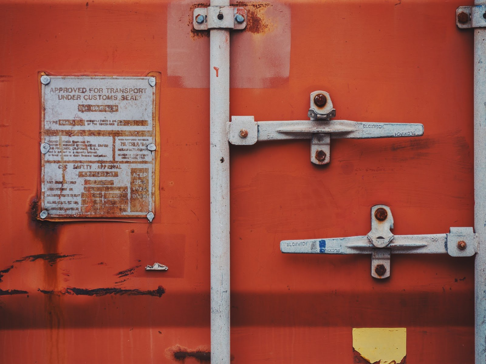 Close up of storage container lock