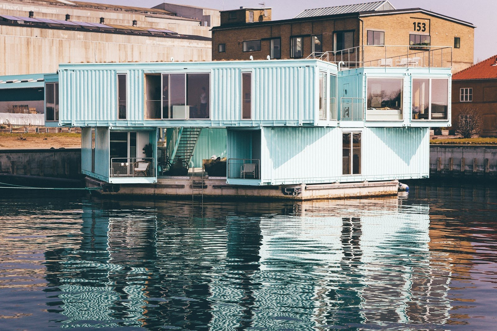 Shipping container home on the water