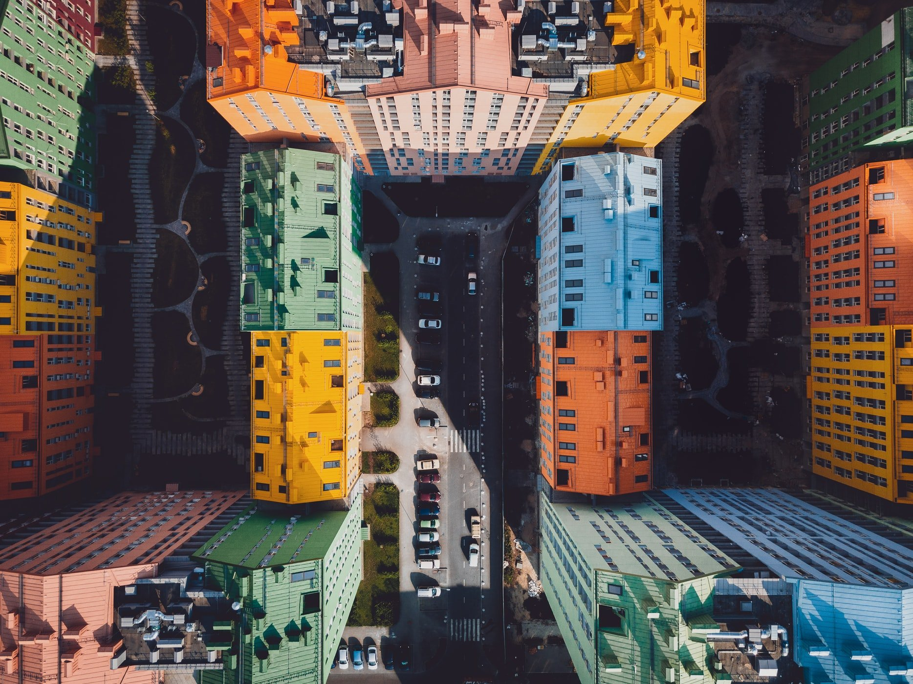 Sky view of shipping containers